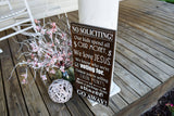 FREE U.S. SHIPPING!!!  No soliciting wood sign.