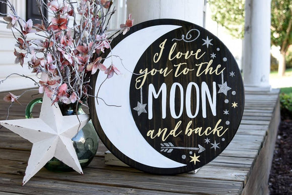FREE SHIPPING!!!   I love you to the moon and back wood sign.  Nursery, Nursery sign, Nursery decor.