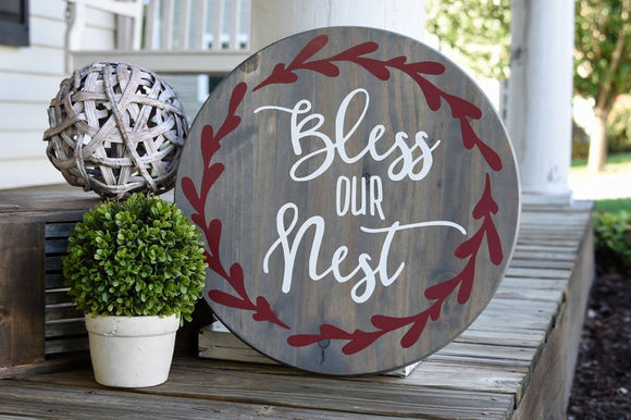 FREE U.S. SHIPPING!!!   Bless our nest wood sign