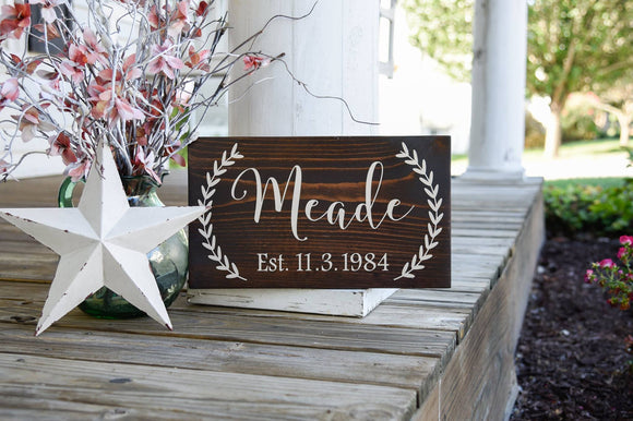 FREE U.S. SHIPPING!!!   Family Established wood sign.  Established sign, weddings, wedding sign, wedding gift.