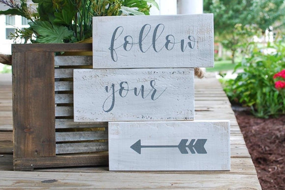 FREE SHIPPING!!!  Follow your arrow pallet sign  I  arrow decor  I pallet signs  I  Nursery signs