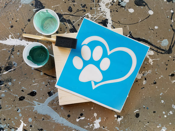 Kid take and make kits. (Paw Print Heart) Birthday parties, painting, paint kits, kid kits