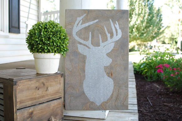 FREE SHIPPING!!!  Deer head wood sign  I  Lake house sign  I  Nursery sign  I  Deer  I  Christmas sign