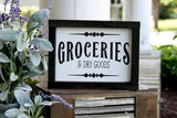 FREE SHIPPING!!!   Groceries wood sign  I  Groceries and dry goods I  mercantile sign I  mercantile I  farmhouse sign I  black and white I  farmhouse  I  sign