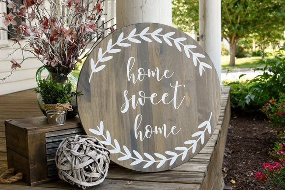 FREE SHIPPING!!!   Home sweet home wood sign  I  Home sign  I  home decor  I  wall art  I  Circle wood sign  I  Home  I  wall hangings  I  wood signs  I  signs