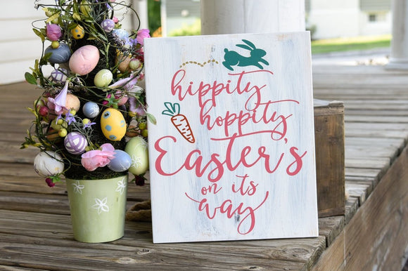 FREE SHIPPING!!!   Hippity Hoppity Easter's on its way wood sign  I  Easter  I  Easter sign  I  Easter decor  I  Spring sign  I  Spring decor  I  wood sign