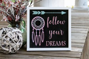 FREE SHIPPING!!!   Follow your dreams wood sign  I  Dream catcher sign  I   Arrow sign  I  girls nursery decor  I  nursery sign  I  girls room decor  I  signs