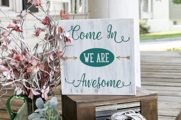FREE SHIPPING!!!  Come in we are awesome wood sign  I  Welcome sign  I  Welcome  I  Door sign  I  Door decor  I  Porch sign  I  home and living  I  wood signs