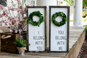 FREE SHIPPING!  I belong with you I  you belong with me  I  wood sign  I  Wedding sign  I  Wedding gift  I  Master bedroom sign  I  home and living  I  sign
