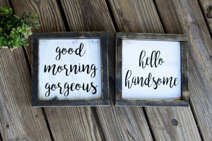 FREE SHIPPING!!!   Good morning gorgeous wood sign  I  hello there handsome wood sign  I  Bedroom signs  I  Master bedroom decor  I  wood signs  I  home decor
