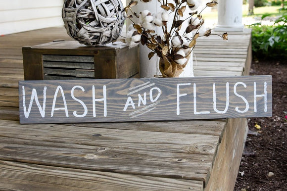 FREE U.S. SHIPPING!!!   Wash and Flush wood sign  I  Bathroom sign