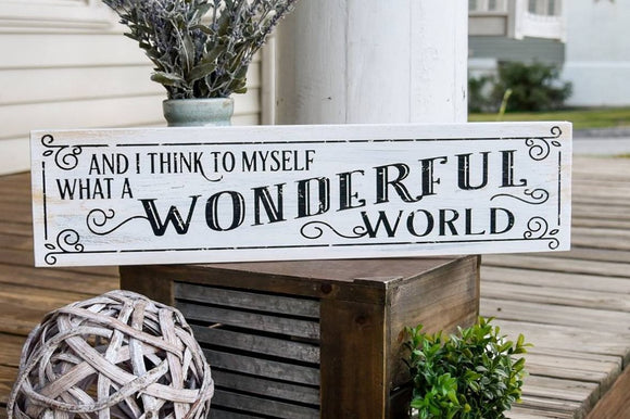 FREE SHIPPING!!!   And I think to myself what a wonderful world wood sign  I  Christmas sign  I   Christmas decor  I   Wonderful world  I  home decor  I  signs