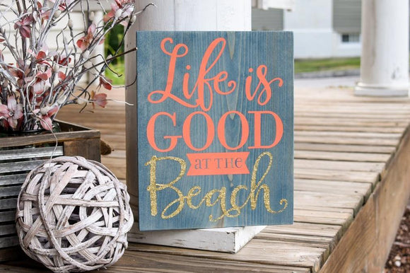 FREE SHIPPING!!!  Life is good at the beach wood sign  I  Beach  I  Beach sign  I  Nautical sign  I  Nautical decor  I  Beach decor  I  home and living