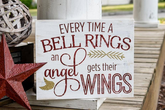 FREE SHIPPING!!!  Everytime a bell rings and angel gets its wings wood sign  I  Christmas sign  I  Christmas decor  I  Christmas  I  home and living  I  signs