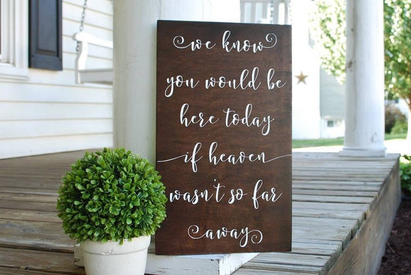 FREE SHIPPING!!!   We know you would be here today  I  Wedding decor  I  In loving memory  I  memorials