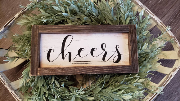 FREE SHIPPING!!!   Wood Sign  I  Cheers wood sign  I  Wedding decor  I  Bar sign  I  Mini wood sign  I  Cheers  I  wall hanging  I  sign  I  Receptions  I  Bar
