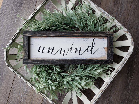 FREE SHIPPING!!!  Wood sign  I  Unwind  I  Unwind wood sign  I  Bathroom sign  I  Bathroom decor  I  Unwind  I  Unwind sign  I  Wood decor  I  Relax sign