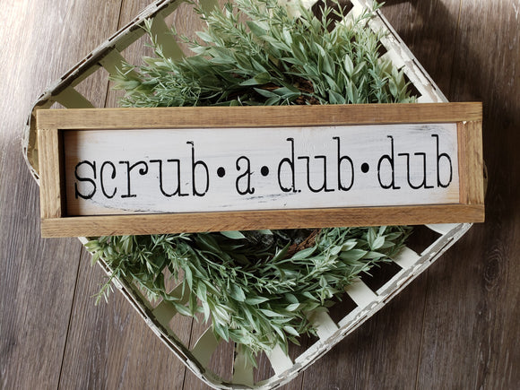 FREE U.S. SHIPPING!!!   Wood sign  I  Scrub a dub dub  I  Bathroom wood sign