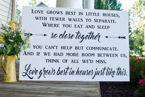 FREE U.S. SHIPPING!!!   Love grows best wood sign I dining room sign  I  little houses