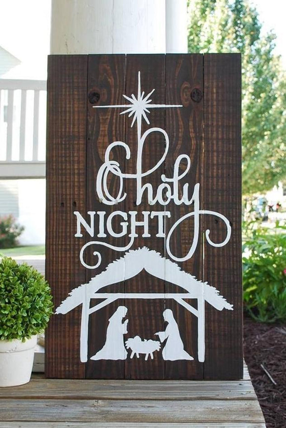 FREE SHIPPING!!!  O Holy night pallet sign  I  Christmas decor  I  Christmas I  Nativity  I  Christmas sign  I  wood sign