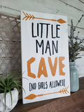 FREE U.S. SHIPPING!!!   Little man cave wood sign.  Boys room sign