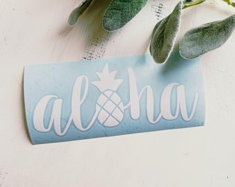 FREE SHIPPING!!! Aloha vinyl decal  I  Aloha decal  I  Pineapple decal  I  Pineapple car decal  I  decal  I  pineapple  I  aloha  I  Hawaiian decal  I  Cars