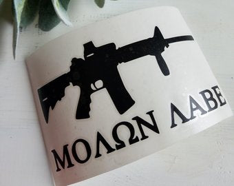 FREE SHIPPING!!!  Gun decal  I  Bullet decal  I  Car decal  I  wall decal  I  laptop decal  I  Three percent car decal  I  Molon Labe  I  Decal for him