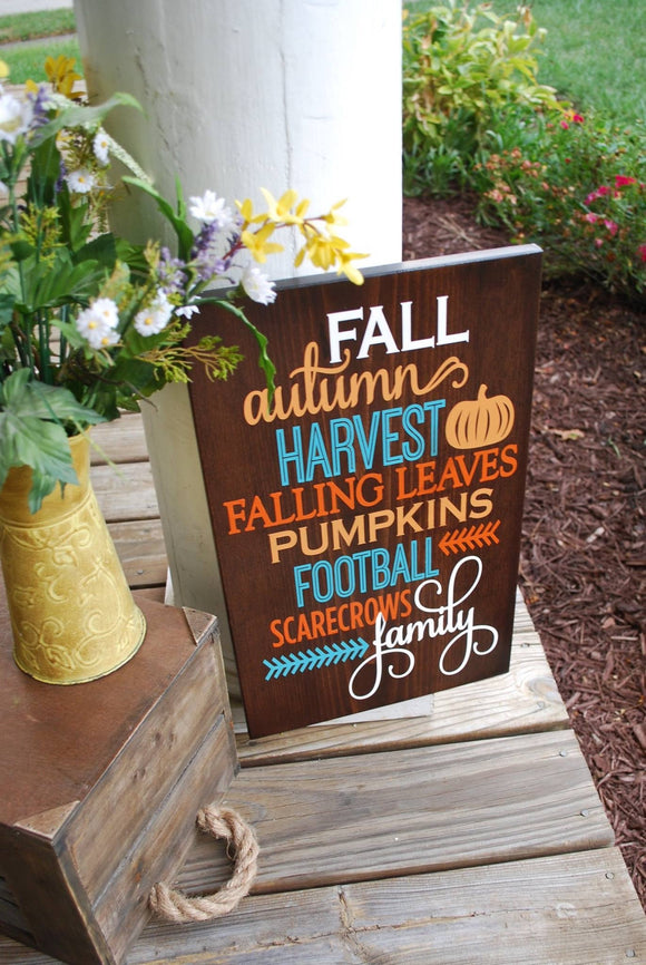 Fall wood sign  I   Autumn home decor  I  scarecrows  I   football