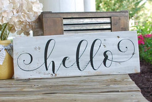 Hello pallet sign  I  hello  I  hello sign  I welcome sign