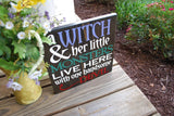 FREE U.S. SHIPPING!!!   Witch and her little monsters wood sign  I  Halloween decor