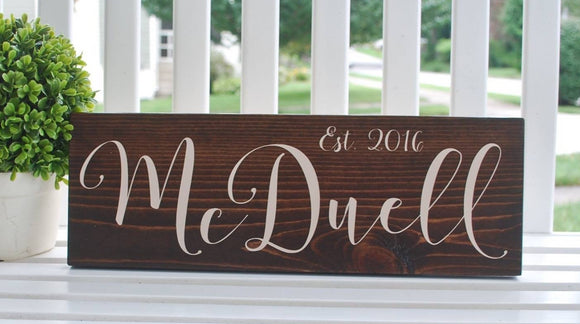 FREE SHIPPING!!!  Established wood sign  I  Name sign  I  wedding gift  I  Weddings  I  Family sign