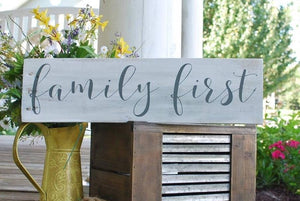 Family First wood sign  I  family first  I  family sign