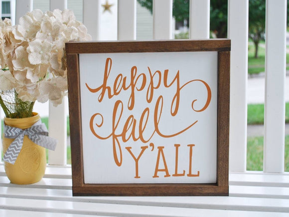 FREE U.S.  SHIPPING!!!   Fall wood sign  I Happy Fall Y'all  I Fall decor
