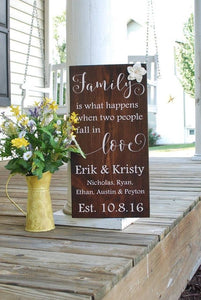 Home Decor FREE SHIPPING Blended Family Wood Sign I Wedding Gift Weddings