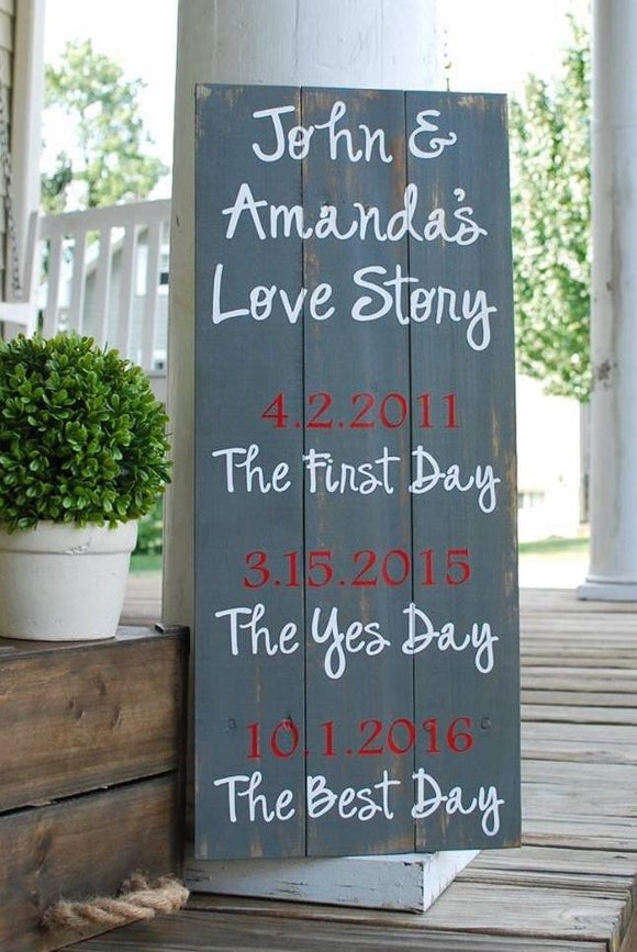 FREE SHIPPING!!!  Our Love Story Pallet Sign  I wedding gift  I anniversary gift I  wedding sign  I  Valentine gift