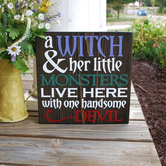Witch and her little monsters wood sign  I  Halloween decor  I  Halloween sign