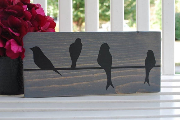 FREE SHIPPING!!!  Birds on a wire wood sign  I   Bird decor  I  Birds  I  Bird sign  I  wood sign