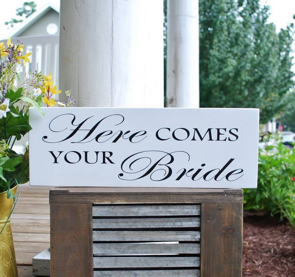FREE SHIPPING!   I  Wedding signs  I  wedding decor  I  Here comes your bride  I  Ceremony sign