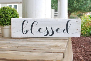 FREE SHIPPING!!!  Blessed wood sign.  Thanksgiving decor, blessed sign, blessed, fall decor