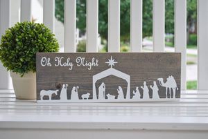 FREE SHIPPING!!!   Oh Holy Night  I  Nativity scene  I  Christmas decor  I  Nativity  I  Christmas sign  I  Christmas