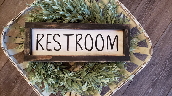 FREE SHIPPING!!!   Wood Sign  I  Restroom wood sign  I  Bathroom decor  I  Bathroom sign  I  Mini wood sign  I  Restroom  I  wall hanging  I  sign  I  Bathroom