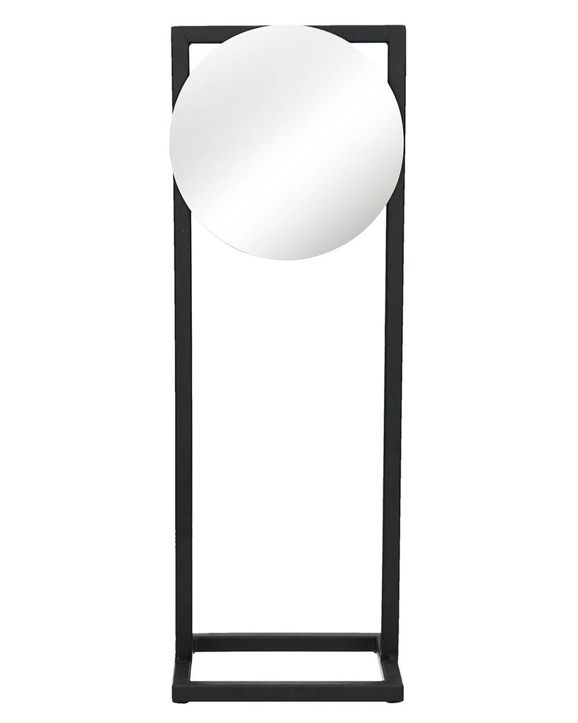 Shop Amdo - Freestanding Round Mirror (Black Metal Frame, H:46cm) today