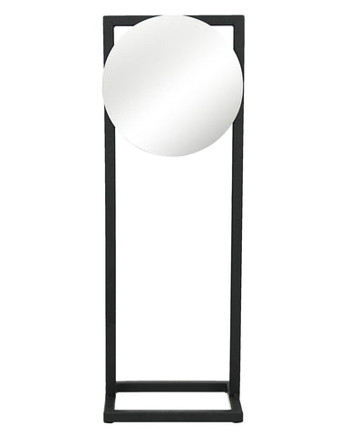 Amdo - Freestanding Round Mirror (Black Metal Frame