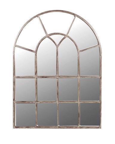 Arched Window Pane Mirror, Metal Frame H:122cm