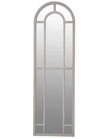 Arched Window Pane Mirror (Full Length Wooden Frame, H: 186cm)