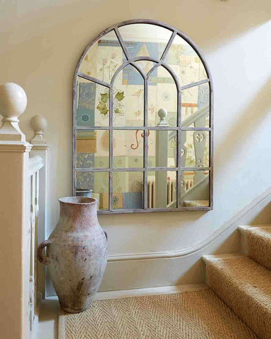 Arched Window Pane Mirror (Metal Frame