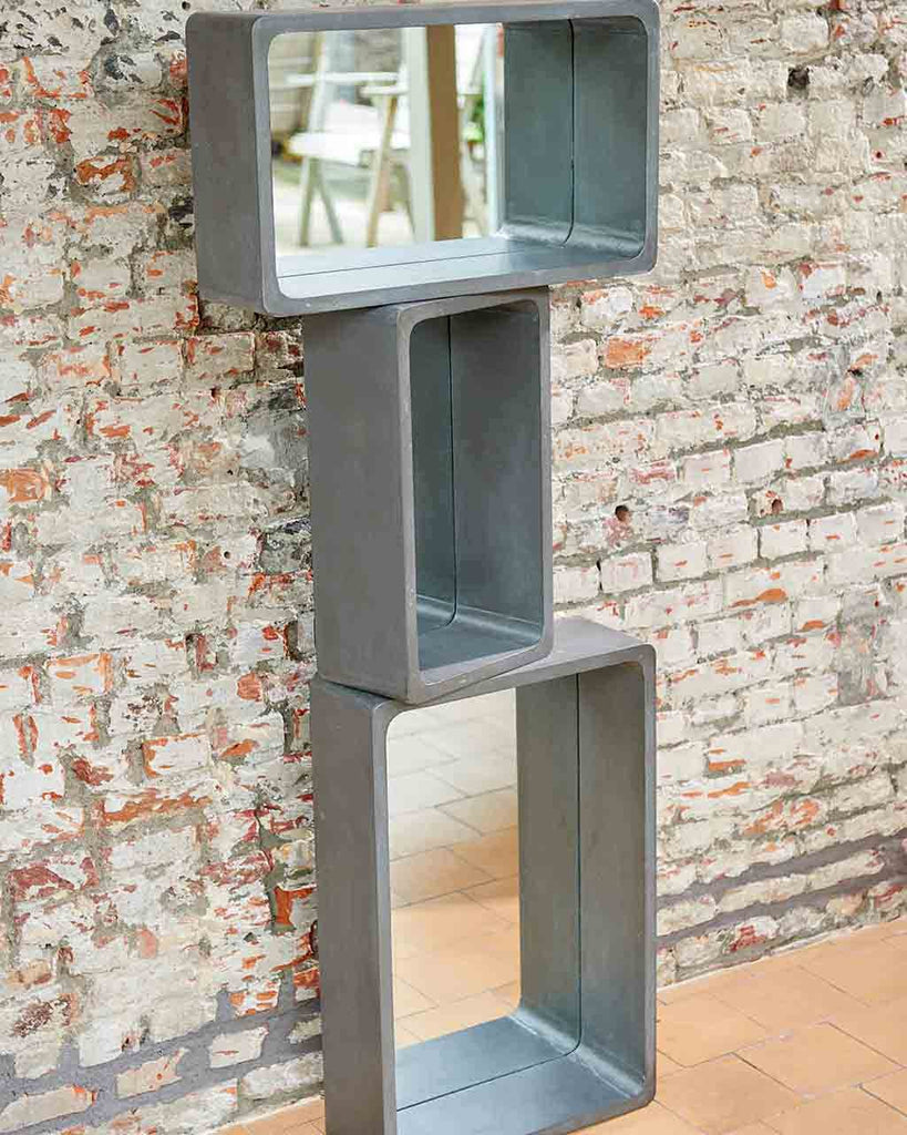 Wall Mirror With Shelf rectangular wall mirror with shelf in concrete finish, small