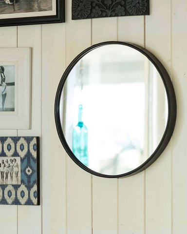 Boudoir Wall Mirror - Black Round Metal Frame Dia:25cm-lifestyle2-close up