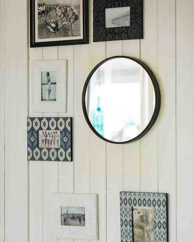 Boudoir - Round Wall Mirror (Black Metal Frame