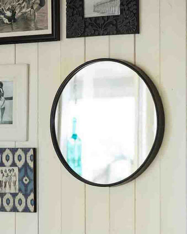 Boudoir - Large Round Wall Mirror (Black Metal Frame